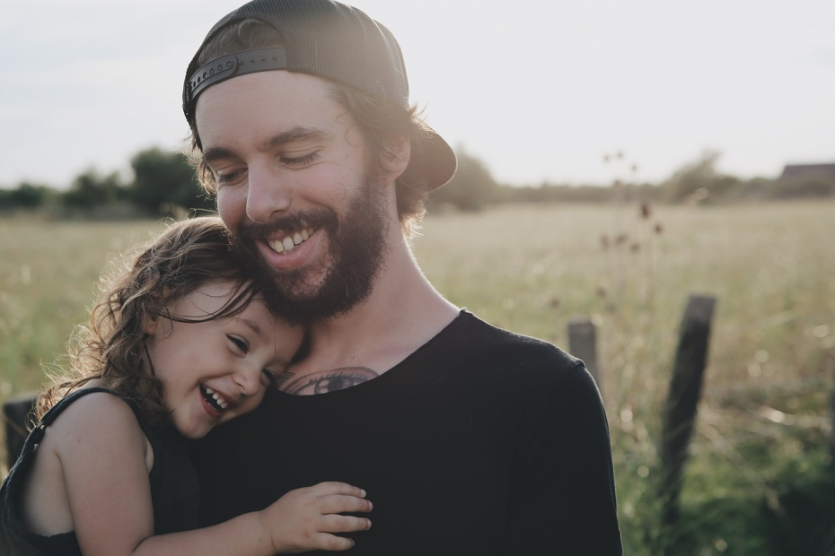 Smiling Father Daughter